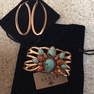 Copper Cuff Bracelet and Earring Set
